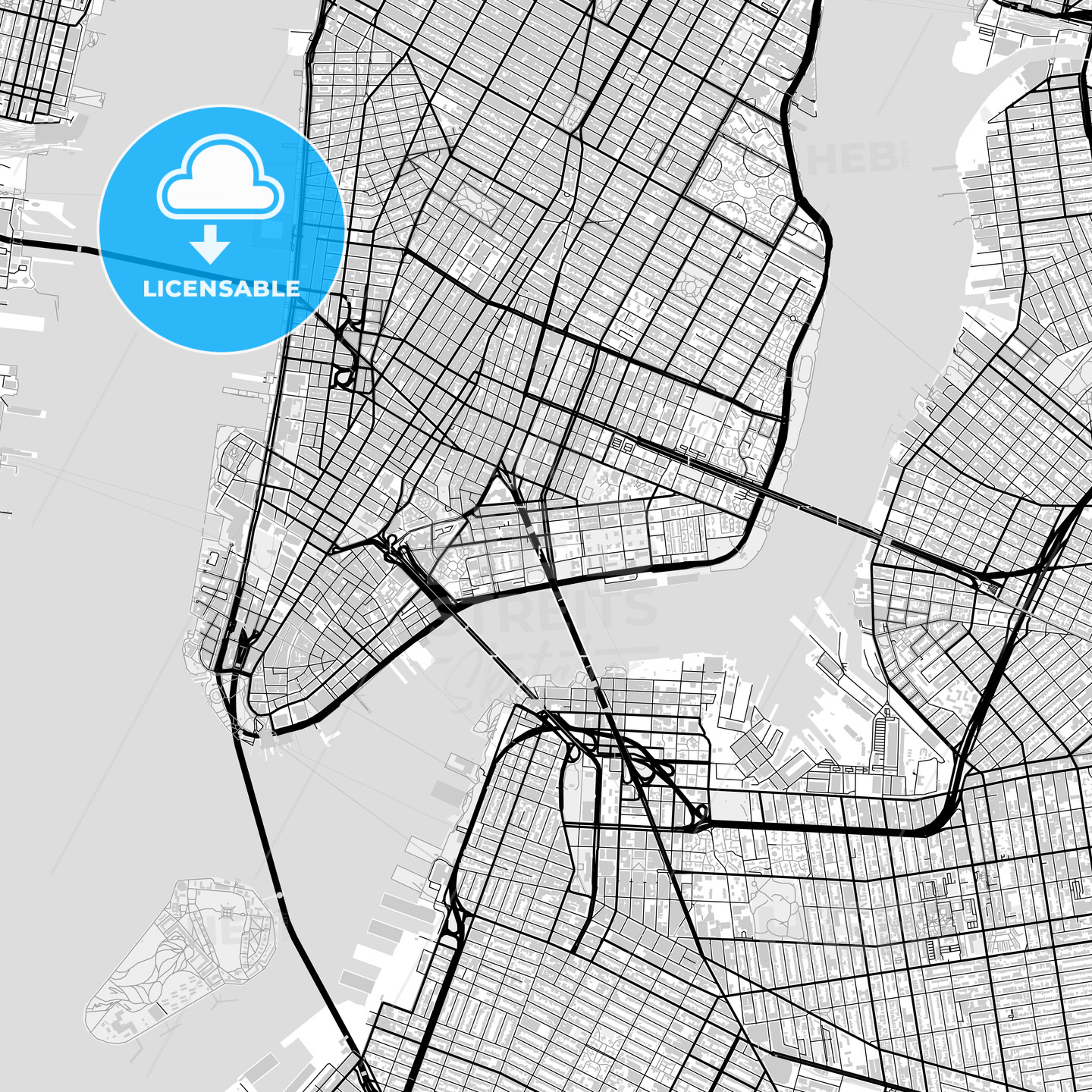 Downtown map of New York City, USA - HEBSTREITS