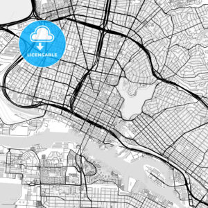 Downtown map of Oakland, USA - HEBSTREITS
