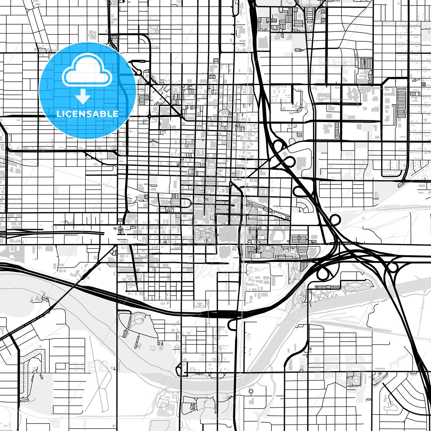 Downtown map of Oklahoma City, USA - HEBSTREITS
