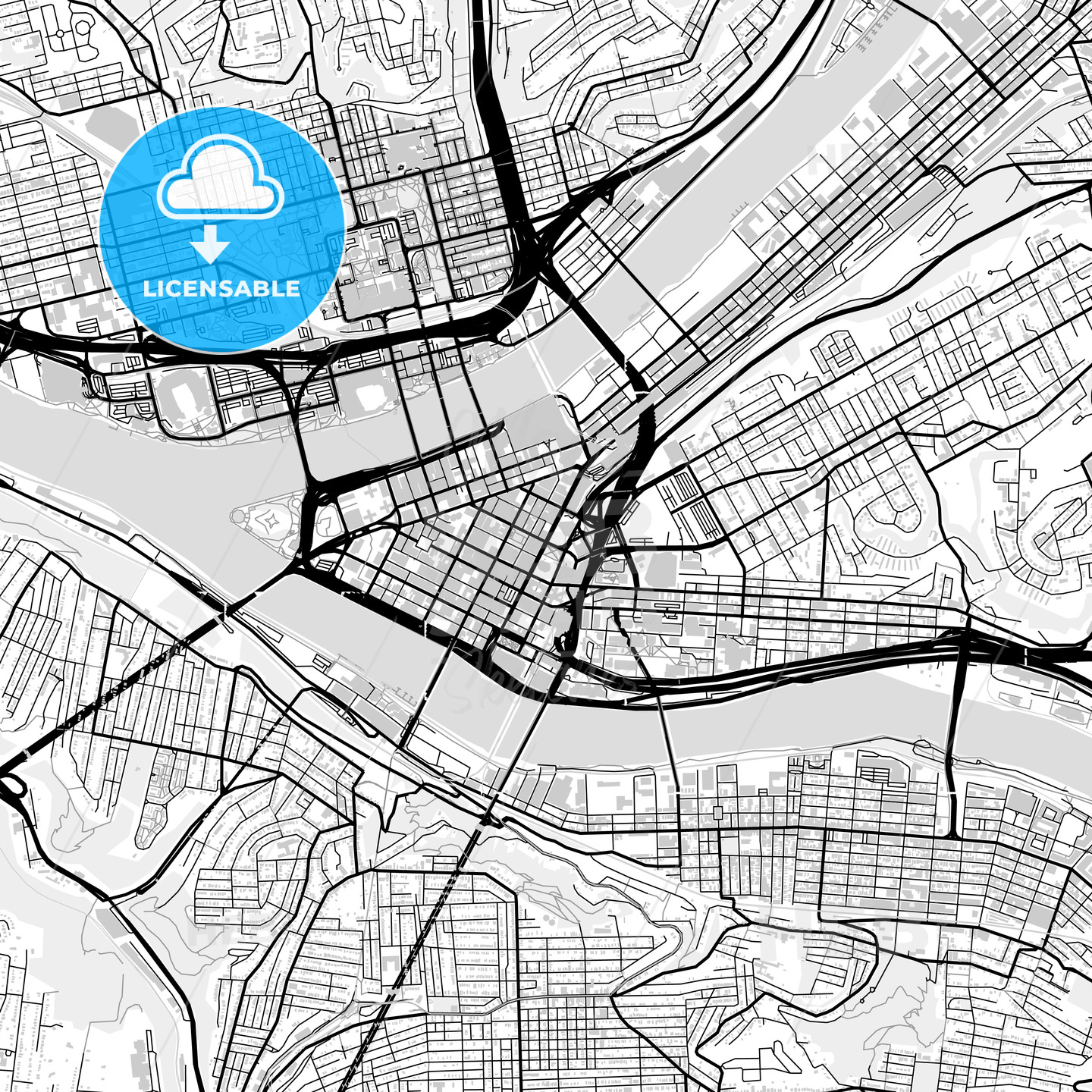 Downtown map of Pittsburgh, USA | HEBSTREITS Sketches on
