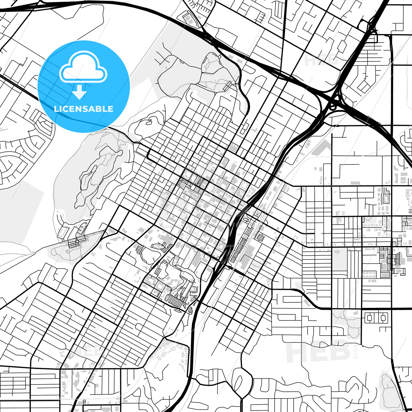 Downtown map of Riverside, USA - HEBSTREITS