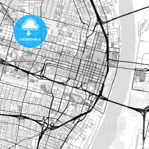 Downtown map of St. Louis, USA - HEBSTREITS
