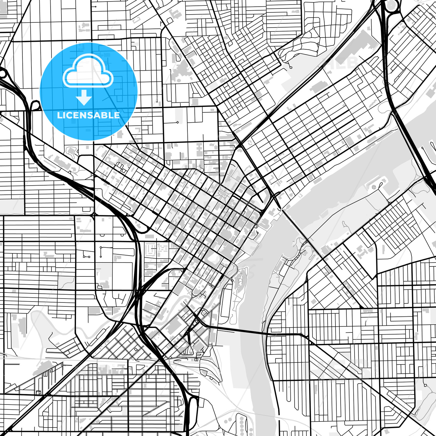 Downtown map of Toledo, USA - HEBSTREITS