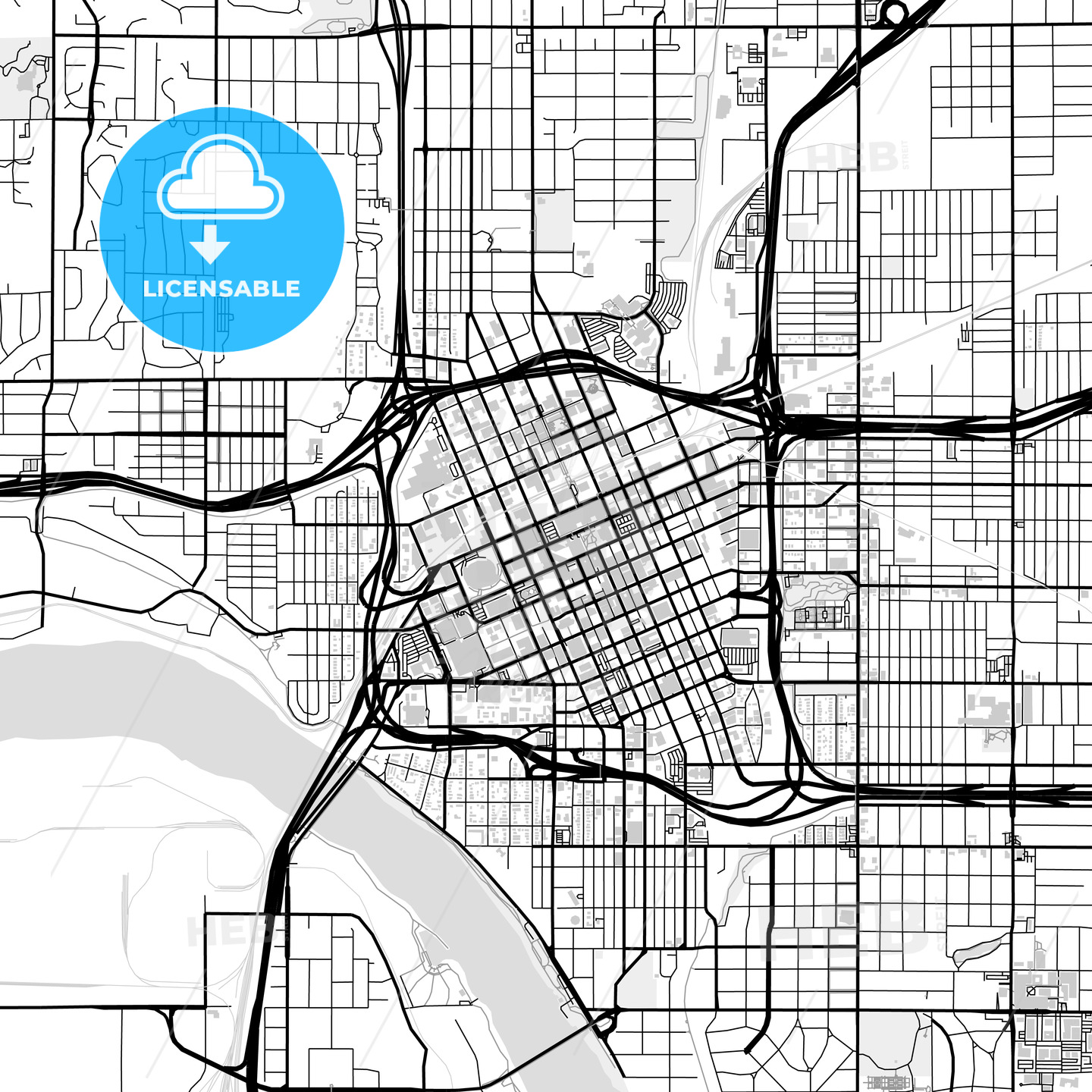 Downtown map of Tulsa, USA - HEBSTREITS