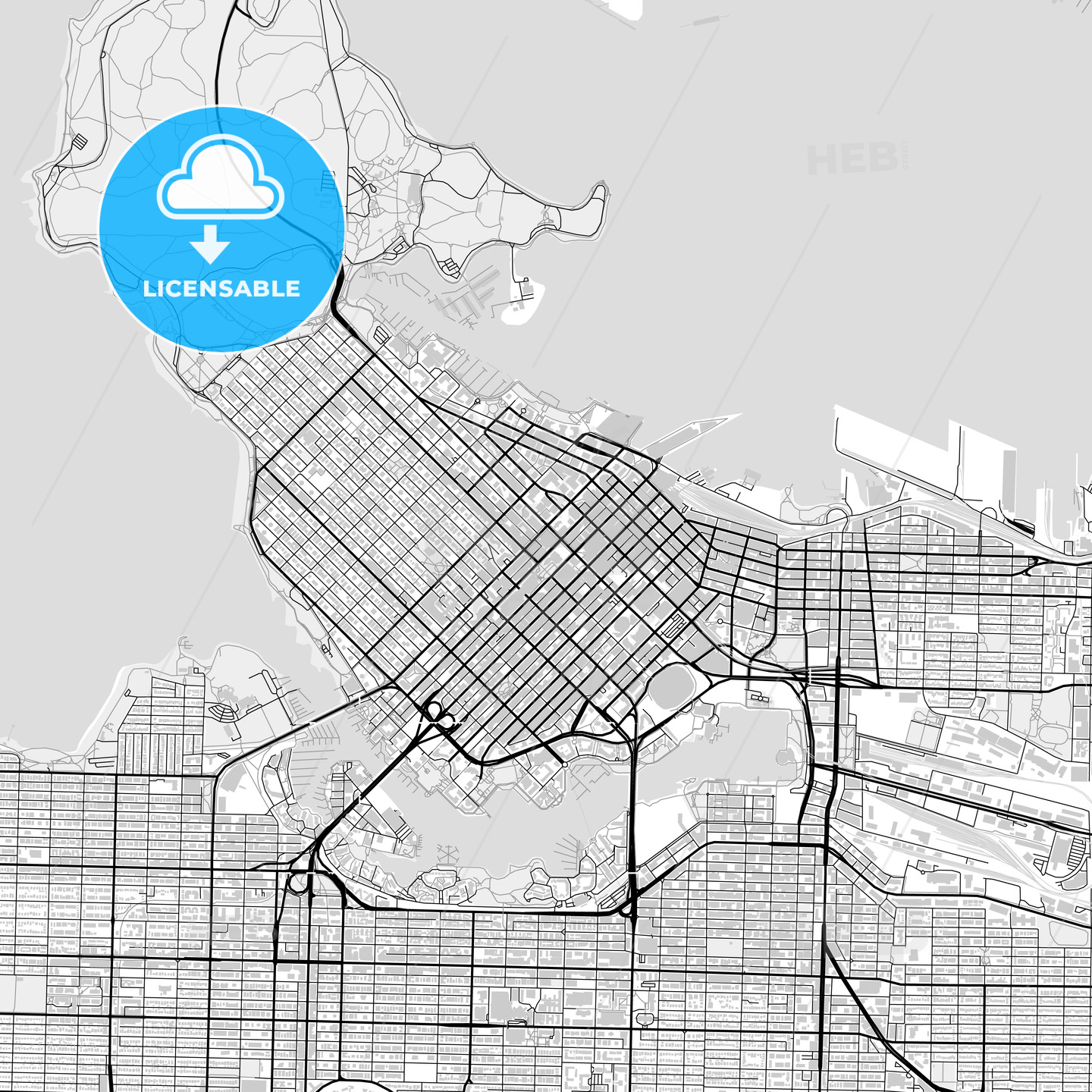 Downtown map of Vancouver, Canada | HEBSTREITS Sketches on