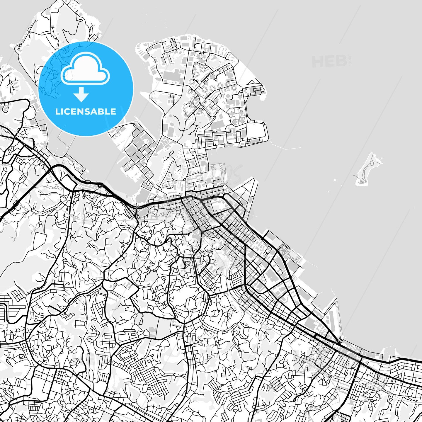 Downtown Map Of Yokosuka Japan 横須賀市 Hebstreits Sketches
