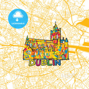 Dublin Travel Art Map - HEBSTREITS
