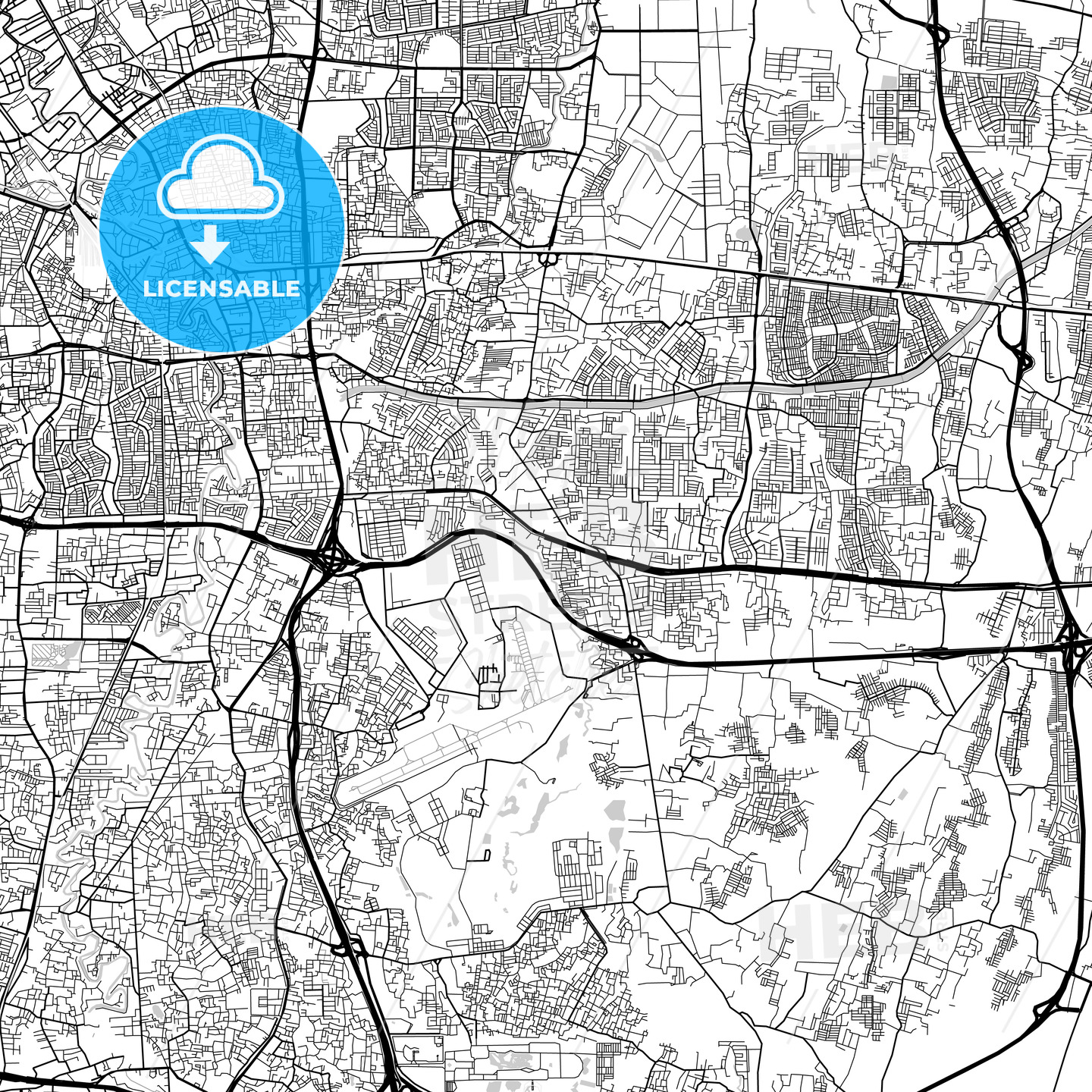 East Jakarta, Indonesia, Downtown City Map, Light - HEBSTREITS