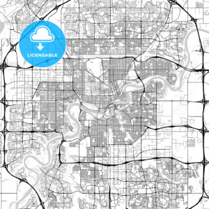 Edmonton, Alberta, Downtown City Map, Light - HEBSTREITS