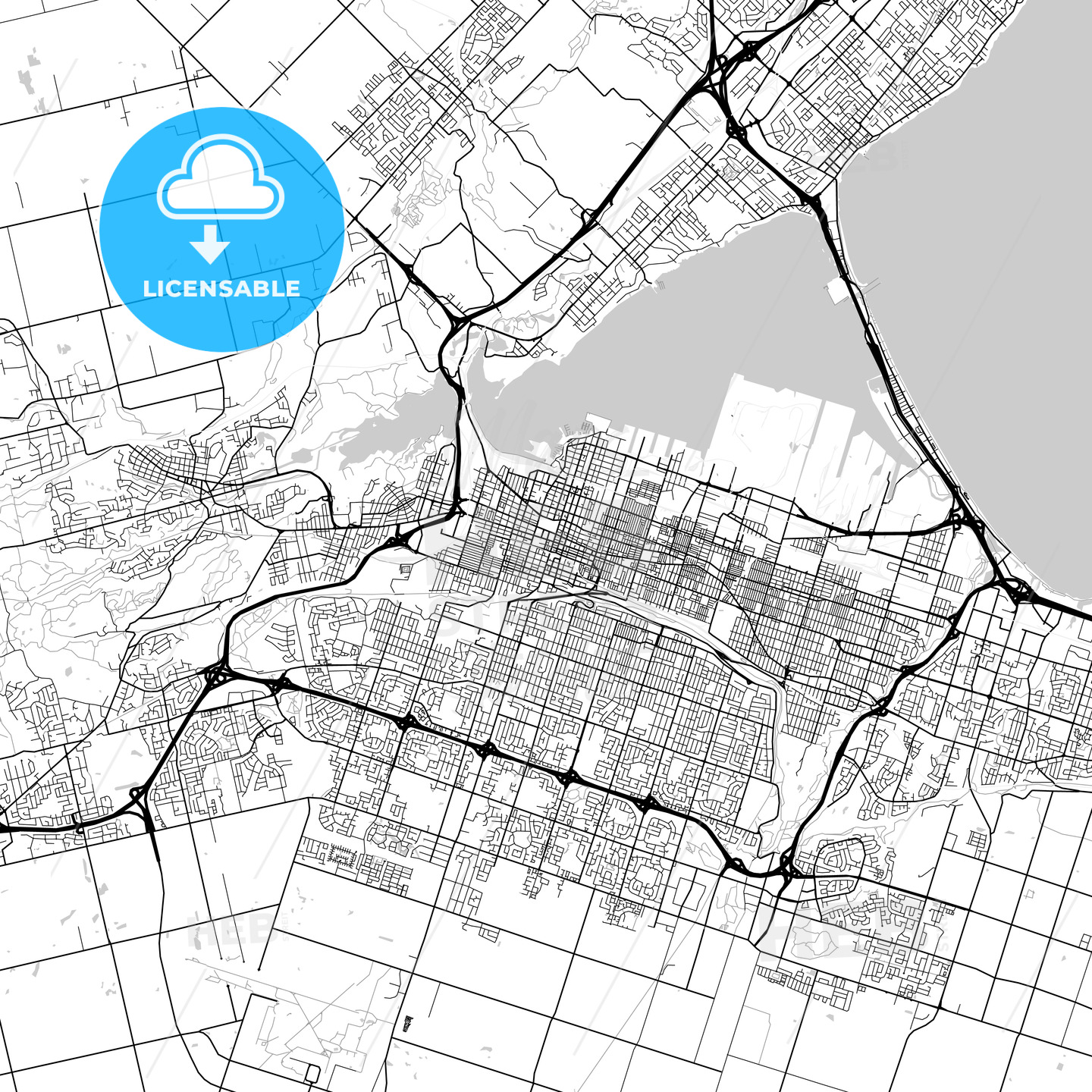 Hamilton, Ontario, Downtown City Map, Light - HEBSTREITS