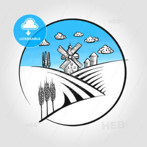 Hand-drawn Windmill icon with landscape - HEBSTREITS