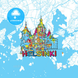 Helsinki Travel Art Map