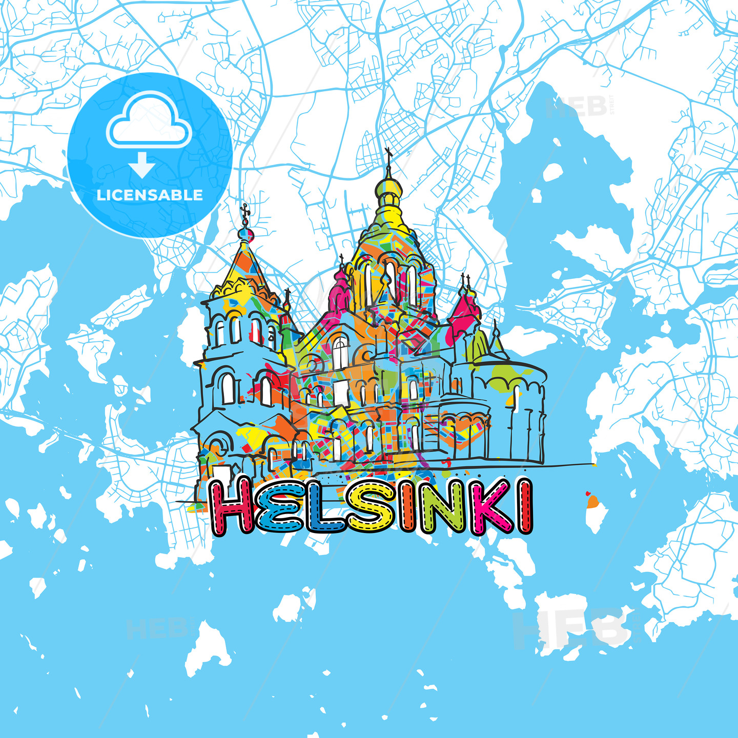 Helsinki Travel Art Map - HEBSTREITS