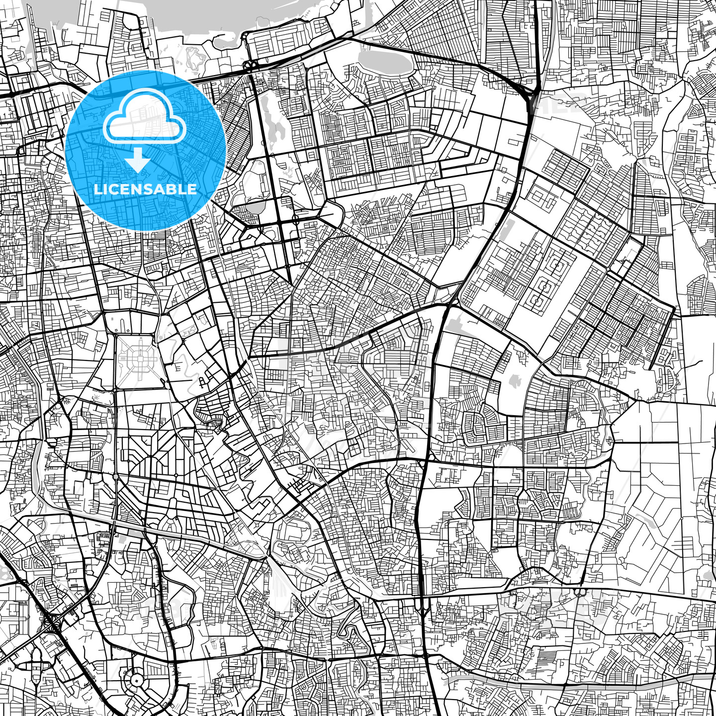 Jakarta, Indonesia, Downtown City Map, Light - HEBSTREITS