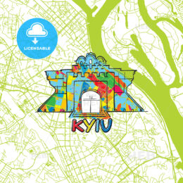 Kyiv Travel Art Map