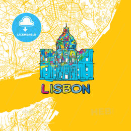 Lisbon Travel Art Map
