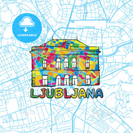Ljubljana Travel Art Map