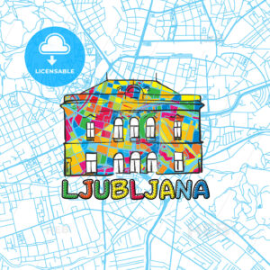 Ljubljana Travel Art Map - HEBSTREITS