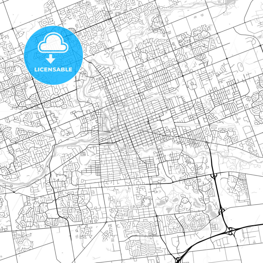 London, Ontario, Canada, Downtown City Map, Light - HEBSTREITS
