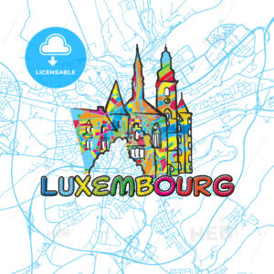 Luxembourg Travel Art Map - HEBSTREITS