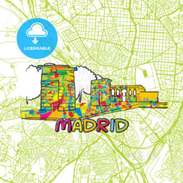 Madrid Travel Art Map