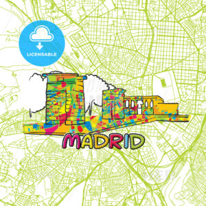 Madrid Travel Art Map - HEBSTREITS