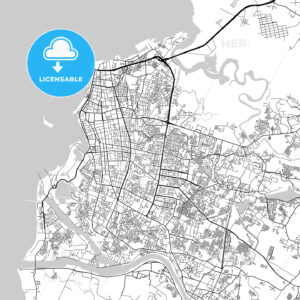 Makassar, South Sulawesi, Downtown City Map, Light - HEBSTREITS