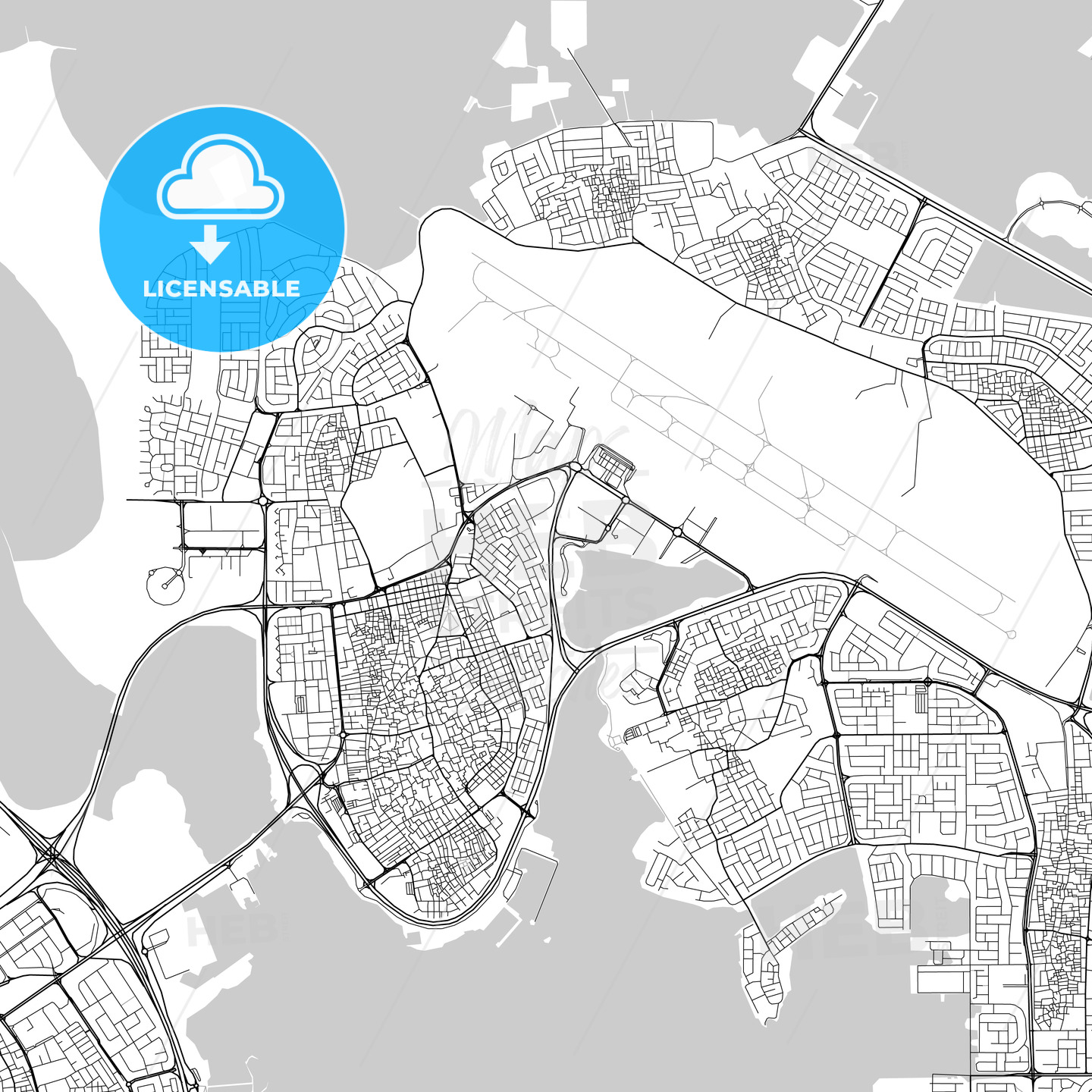 Map of Al Muharraq, Muharraq, Bahrain - HEBSTREITS
