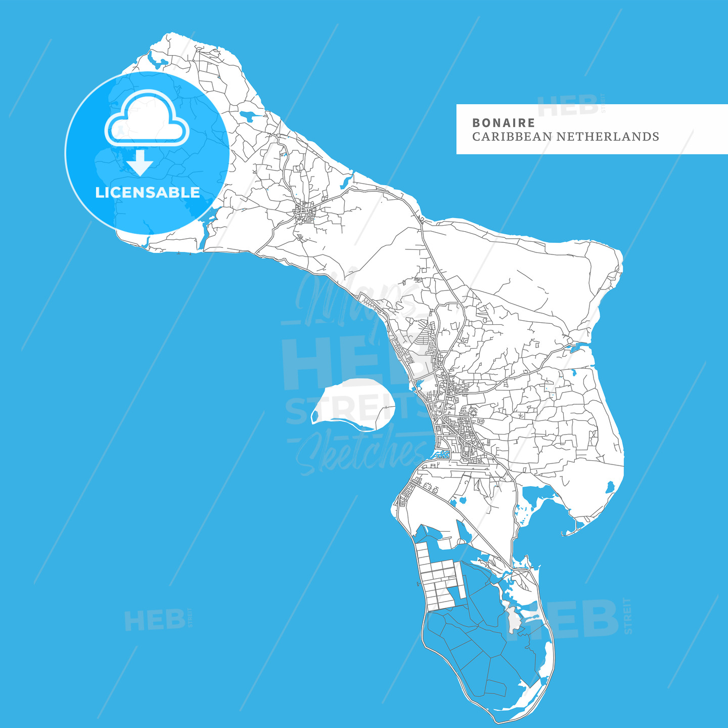 Map of Bonaire Island - HEBSTREITS