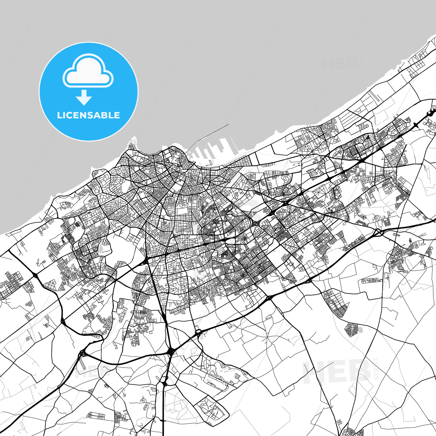 Map of Casablanca, Casablanca-Settat, Morocco - HEBSTREITS