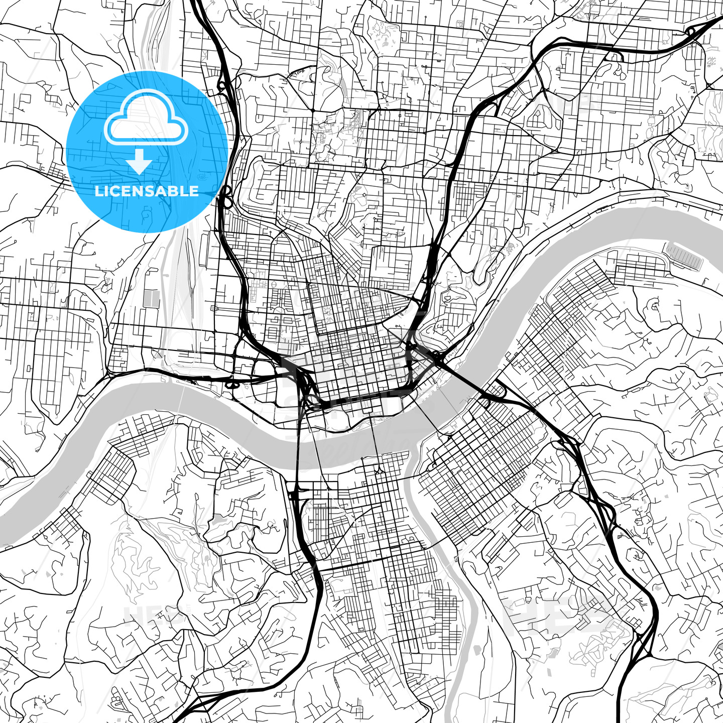Map of Cincinnati, Ohio | HEBSTREITS Sketches Cincinnati Ohio Map Usa on