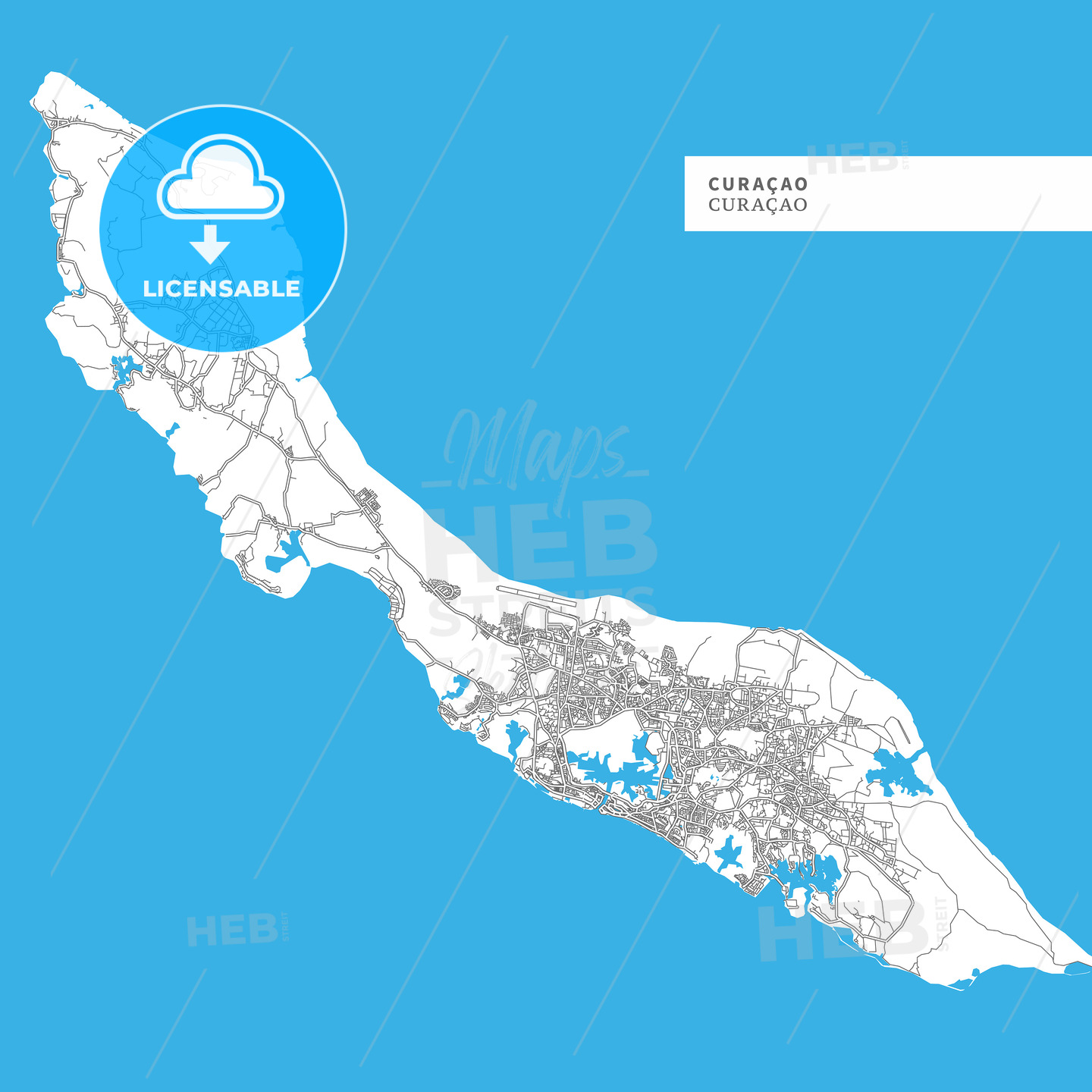 Map of Curacao Island - HEBSTREITS