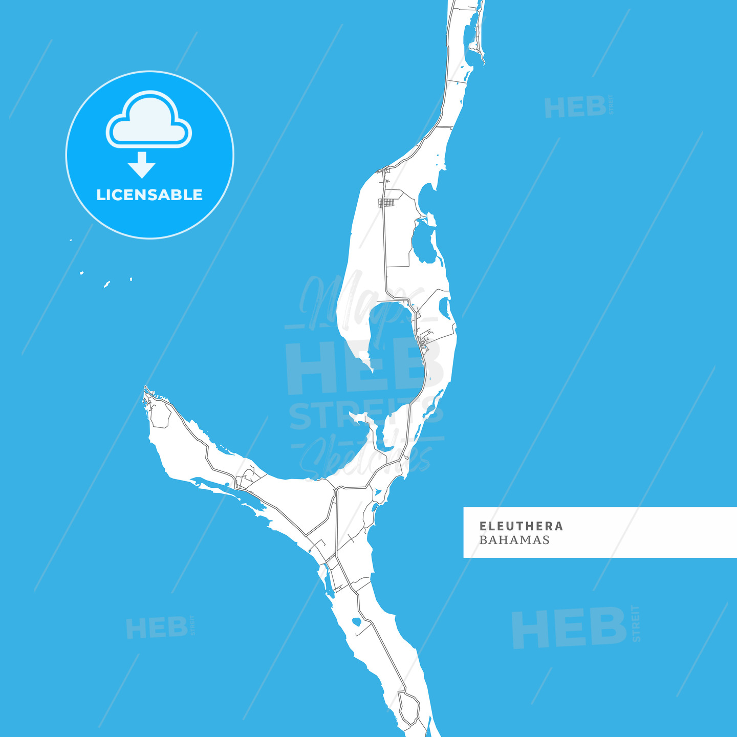 Map of Eleuthera Island - HEBSTREITS