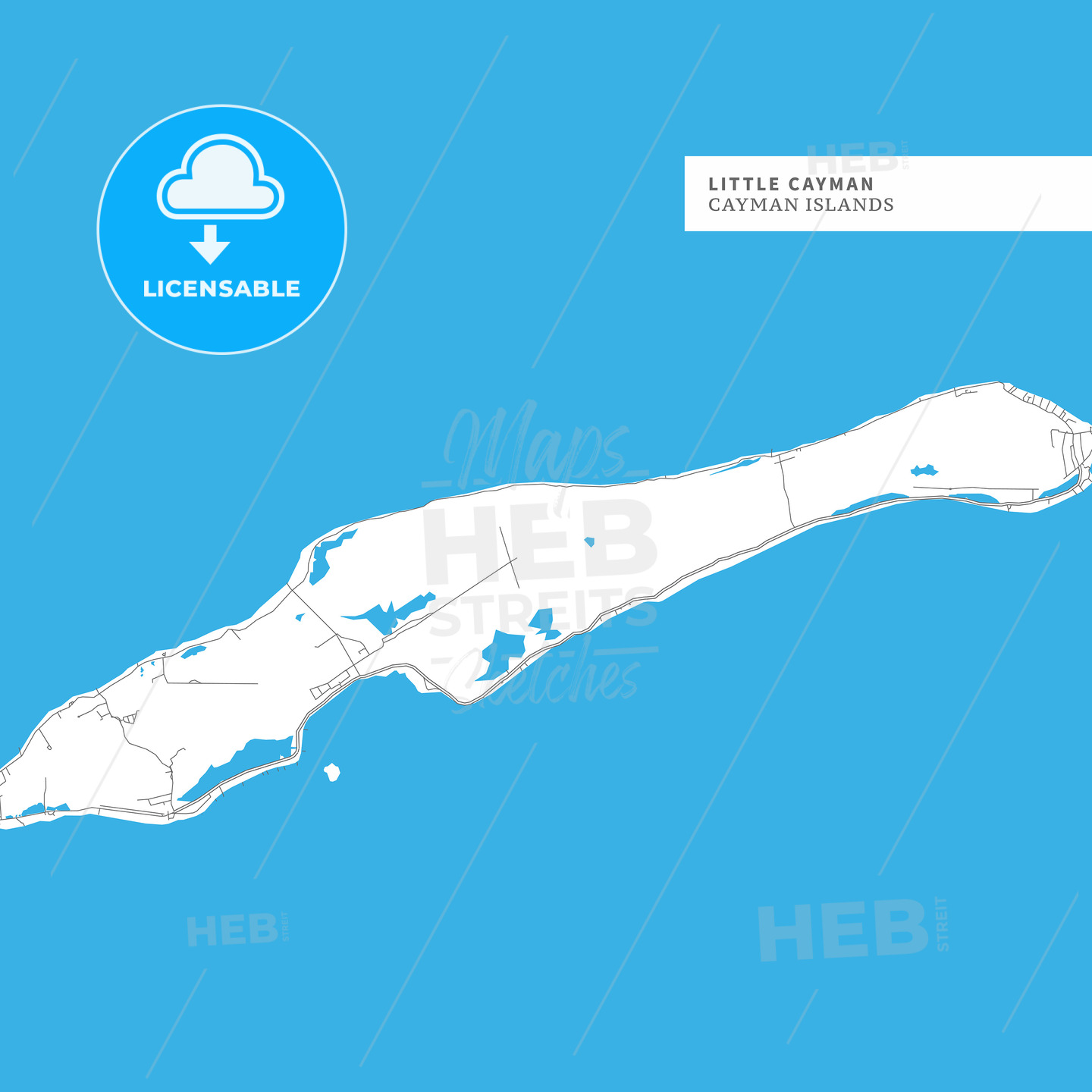 Map of Little Cayman Island - HEBSTREITS