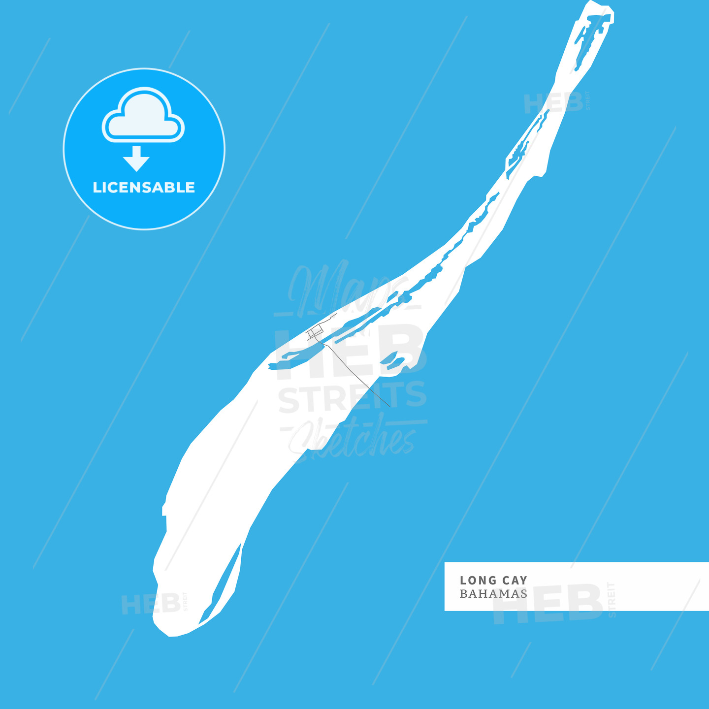 Map of Long Cay Island - HEBSTREITS