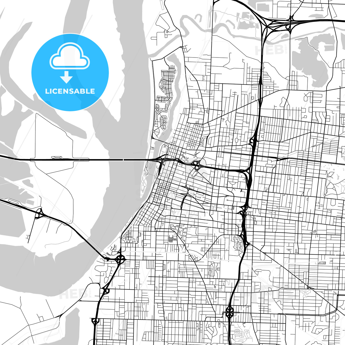 Map of Memphis, Tennessee | HEBSTREITS Sketches