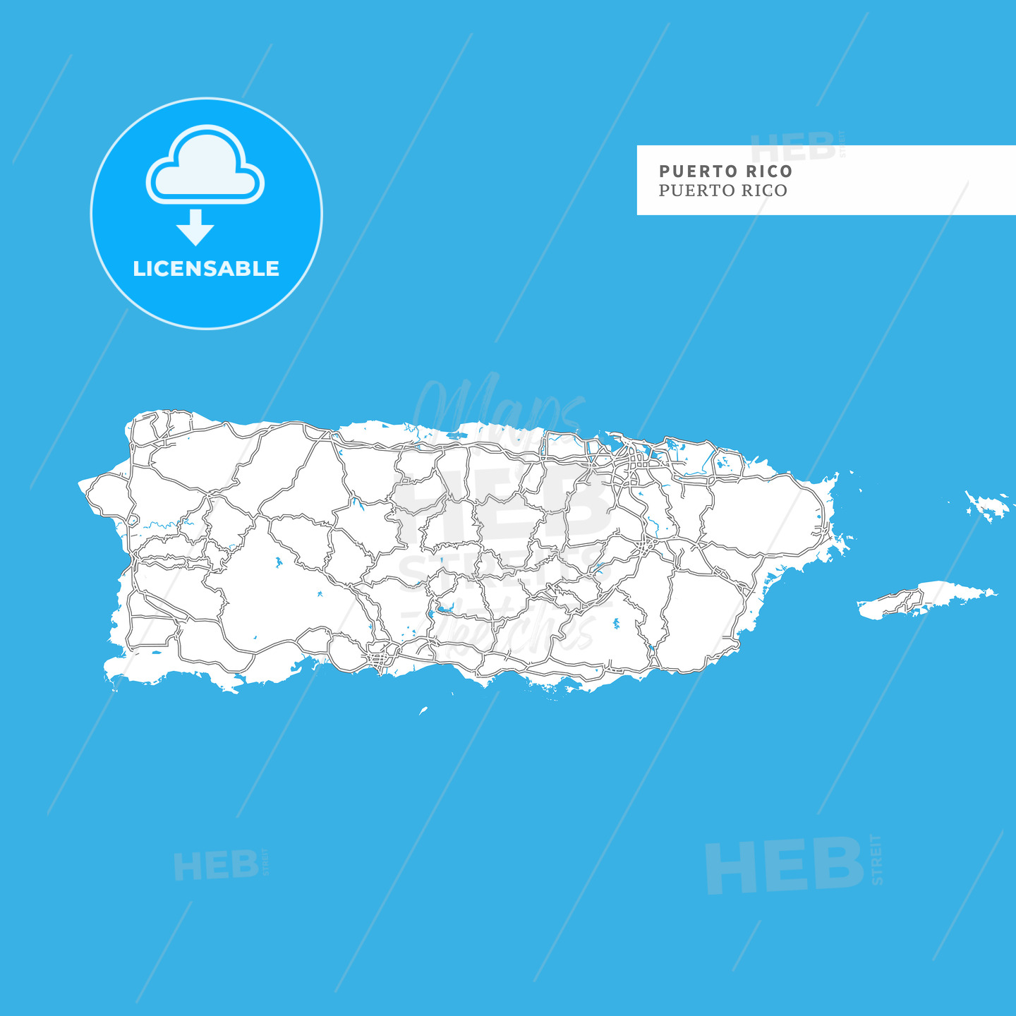 Map of Puerto Rico Island - HEBSTREITS