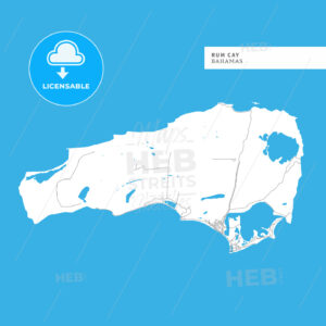 Map of Rum Cay Island - HEBSTREITS