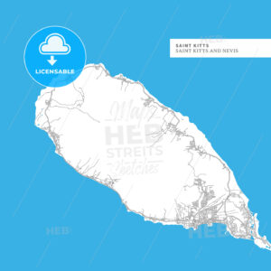 Map of Saint Kitts Island - HEBSTREITS