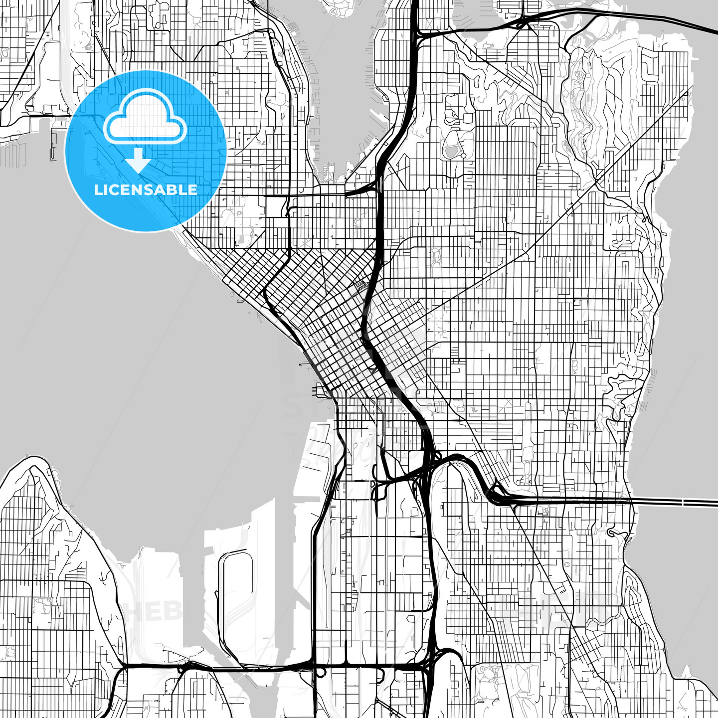 It is a graphic of Printable Map of Seattle intended for pdf