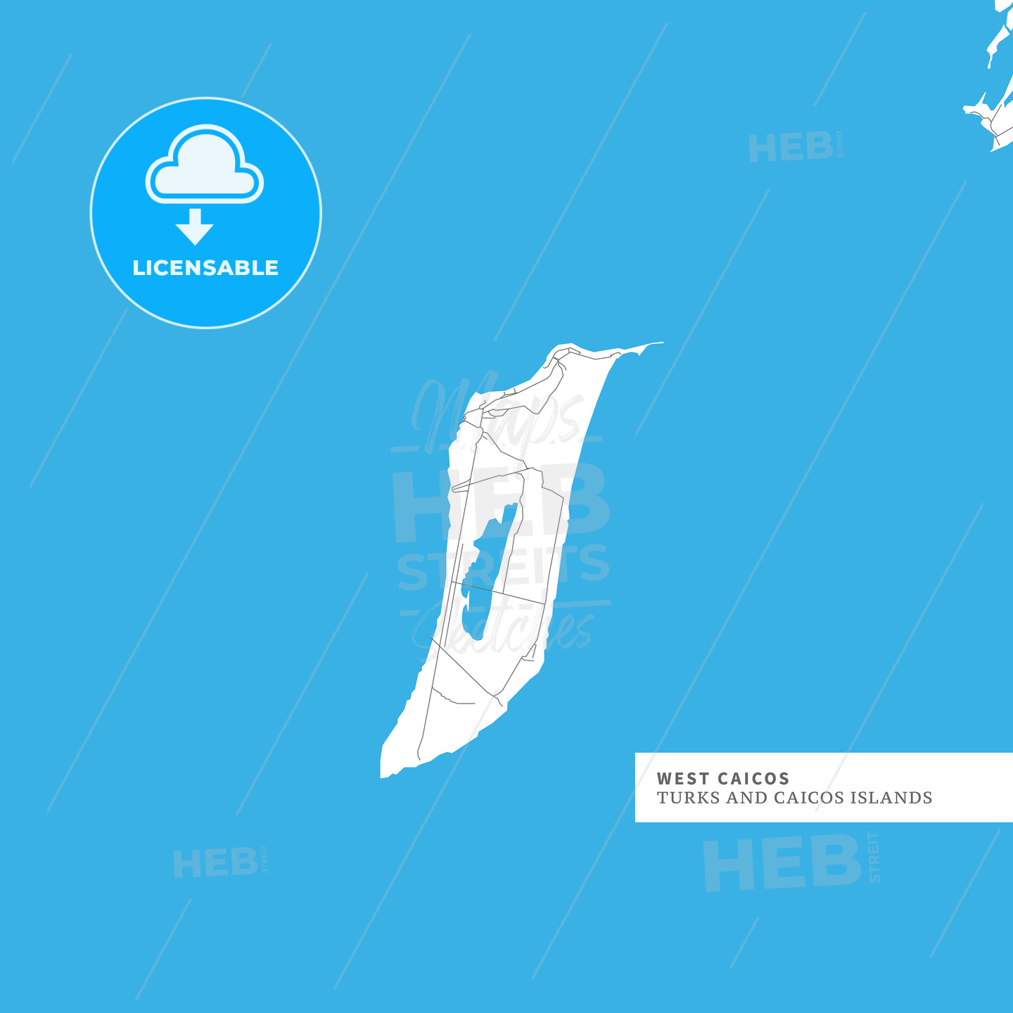 Map of West Caicos Island - HEBSTREITS
