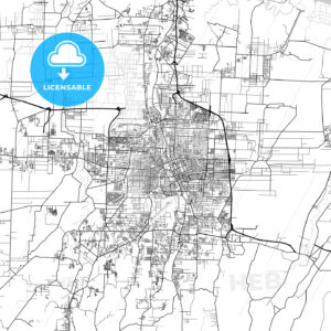 Medan, North Sumatra, Downtown City Map, Light - HEBSTREITS
