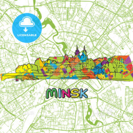 Minsk Travel Art Map