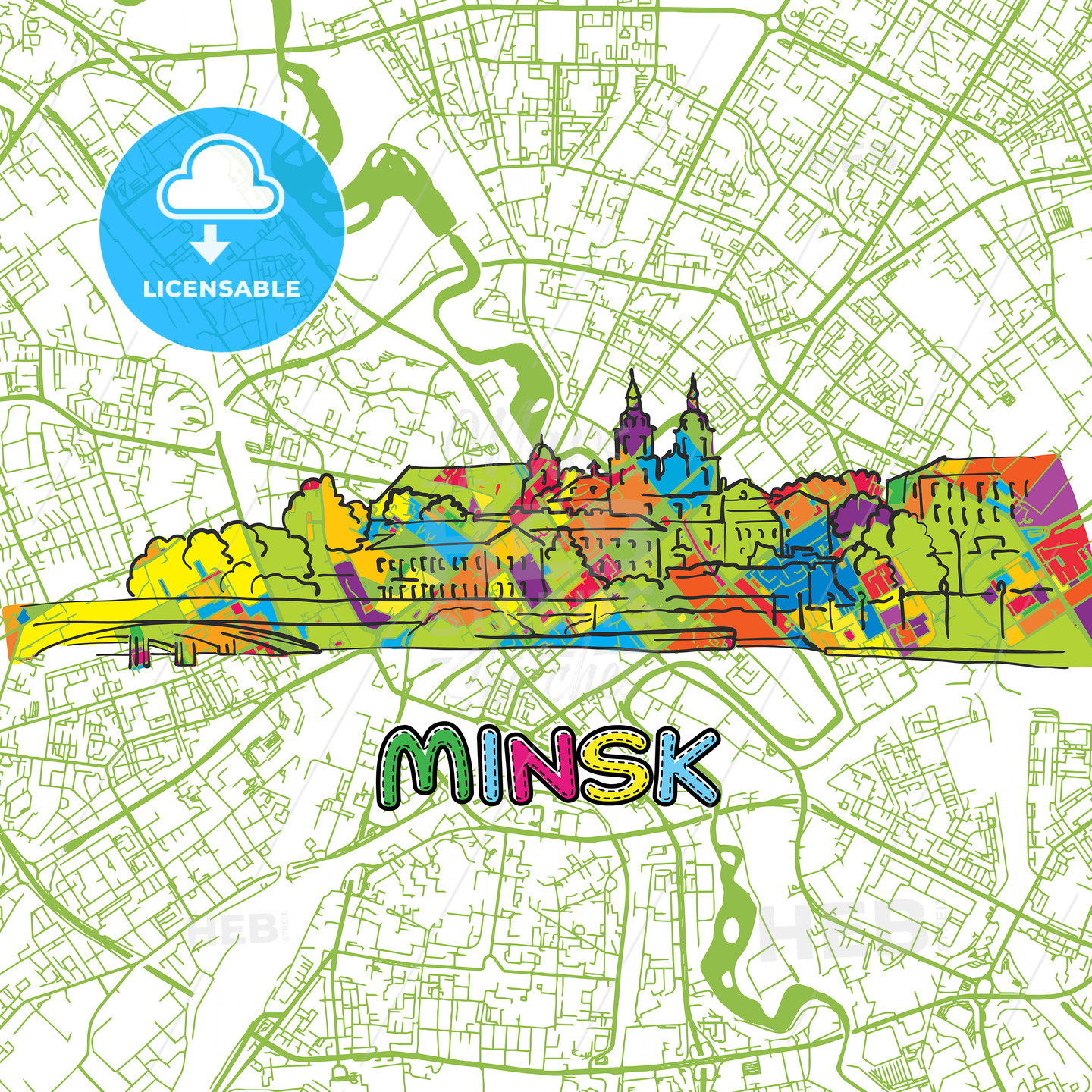 Minsk Travel Art Map - HEBSTREITS