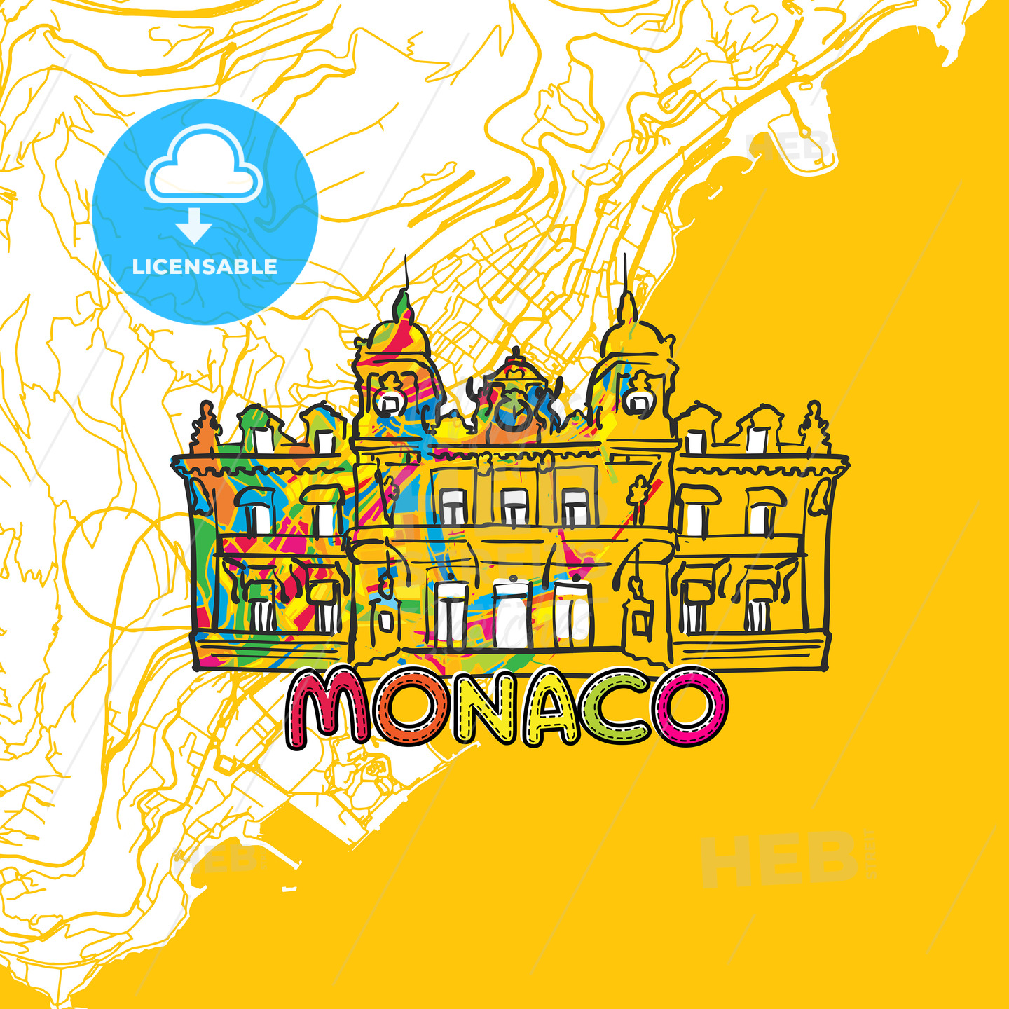 Monaco Travel Art Map - HEBSTREITS