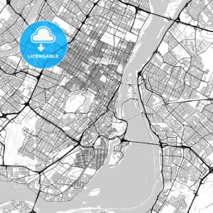 Montreal, Quebec, Downtown City Map, Light - HEBSTREITS