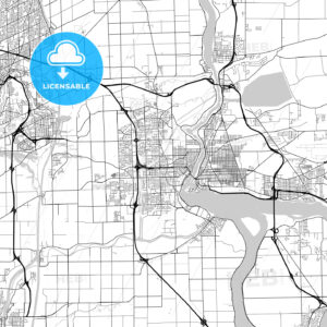 Niagara – St. Catharines , Ontario, Downtown City Map, Light - HEBSTREITS