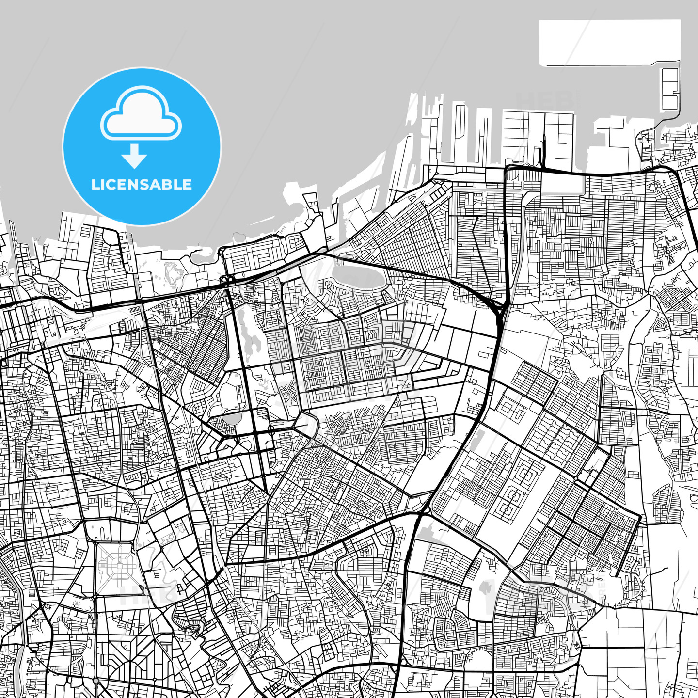 North Jakarta, Indonesia, Downtown City Map, Light - HEBSTREITS