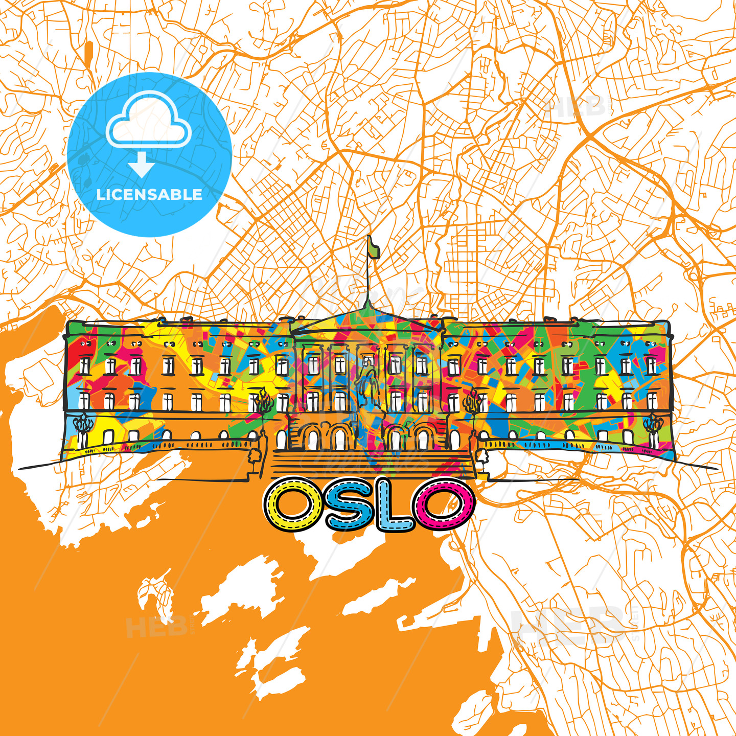 Oslo Travel Art Map - HEBSTREITS