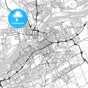 Ottawa–Gatineau, Ontario/Quebec, Downtown City Map, Light - HEBSTREITS